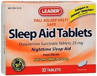Leader Sleep Aid-DOXYLAMINE SUCCINATE-25mg Tablets 32 Ct (2 Pack)