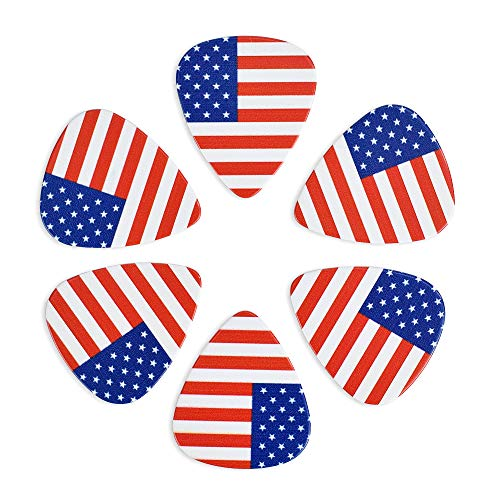 CLOUDMUSIC Guitar Picks American USA Flag For Acoustic Guitar Kids Men Women Variety Pack 12pcs (Guitar Pick Usa)