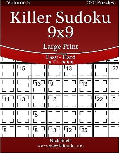 Killer Sudoku 9x9 Large Print - Easy to Hard - Volume 5