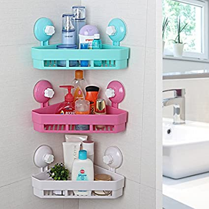 Buy Generic As Picture 4 Colors Plastic Bathroom Corner Triangle Sucker Storage Racks Wall Mounted Bathroom Shelves Holder Home Organizer Online At Low Prices In India Amazon In
