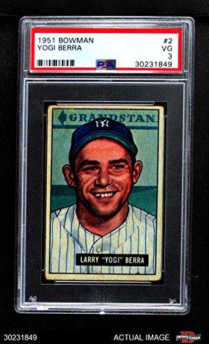 1951 Bowman # 2 Yogi Berra New York Yankees (Baseball Card) PSA 3 - VG Yankees