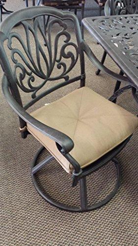 Elizabeth Outdoor Patio 6 Swivel Rocker Dining Chairs Cast Aluminum Dark Bronze Color, Walnut Cushions