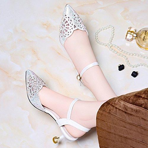 Talons Envelopper Bouche Hauts Blanc Femmes Pu Femme Profonde L'orteil Mince Peu Été Tête Pour Chaussures Sandales Pointue Talon 7xOdw7