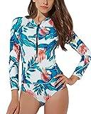 LAPAYA Women's One Piece Swimsuits Zip Up Floral Long Sleeve Rash Guard Swimwear, Green, Tag Size L=US Size M