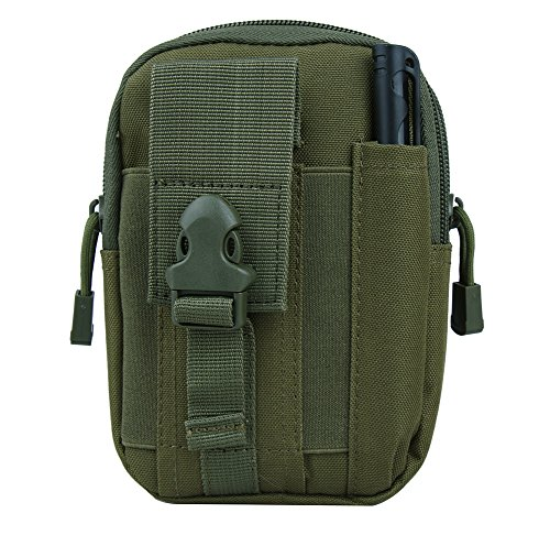 Genda 2Archer Tactical Nylon Smartphone Holster EDC Security Pack Carry Case Pouch Belt Waist Bag Money Pocket Smart Phones,Flashlight and Accessories (Army Green) ()