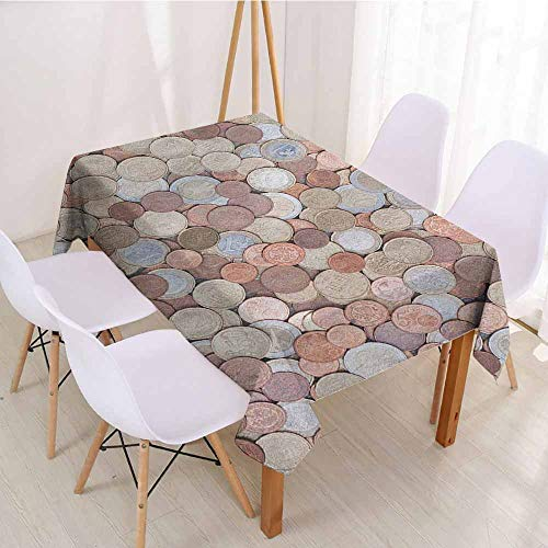 """ScottDecor Printed Tablecloth Wrinkle Free Tablecloths W 70"""" x L 90"""" Money,Close Up Photo of Coins European Union Euros Cents on Rustic Wooden Board, Bronze Silver Yellow"""