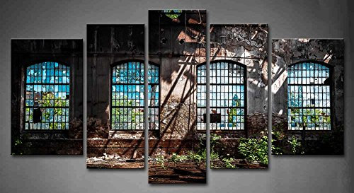 5 Architectural Wall Panels Interior Panel Wall Art Abandoned Industrial Interior With Bright Light Ruin