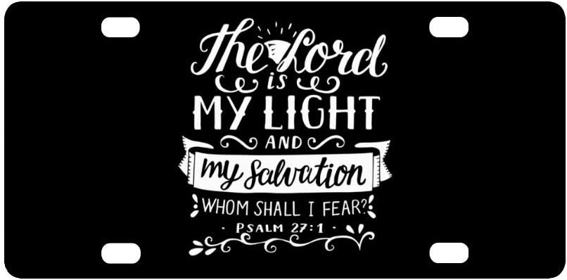 """InterestPrint Christian Bible Verse The Lord is My Light and My Salvation Metal License Plate Tag Sign Decor for Car Woman Man - 12"""" x 6"""""""