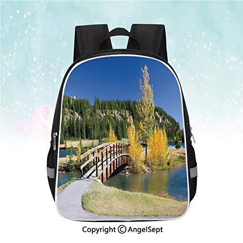 School Student Backpack,Autumn in Banff National Park Serene Canada Landscape Yellow Trees Bridge,13
