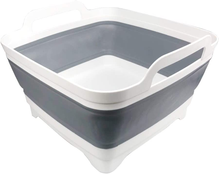 Dish Basin Collapsible with Drain Plug Carry Handles for 9L Large Capacity, Washing Basin, Collapsible Dish Tub for RV Sink, Vegetable, Fruit, Food Sink Strainer Dish Washing Tub - Gray
