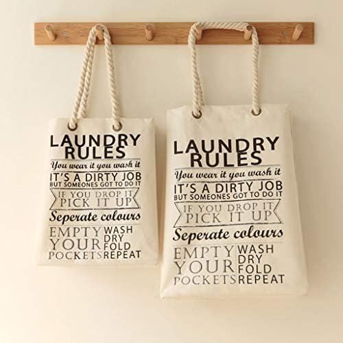 Panier à linge avec cordon de serrage - Sac de rangement en coton et lin - Grand sac de rangement pour vêtements, jouets, journaux, magazines, etc., Taille L
