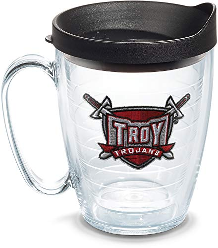 Tervis 1085102 Troy Trojans Sword Tumbler with Emblem and Black Lid 16oz Mug, Clear ()