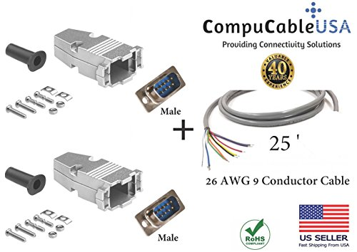 CompuCablePlusUSA.com Best 2 Piece Set DB9 Male Solder Type Connector Kits with Metal Hoods + Strain Relief Grommets + 26 AWG 9 Conductor Shielded Cable 25' Complete ()