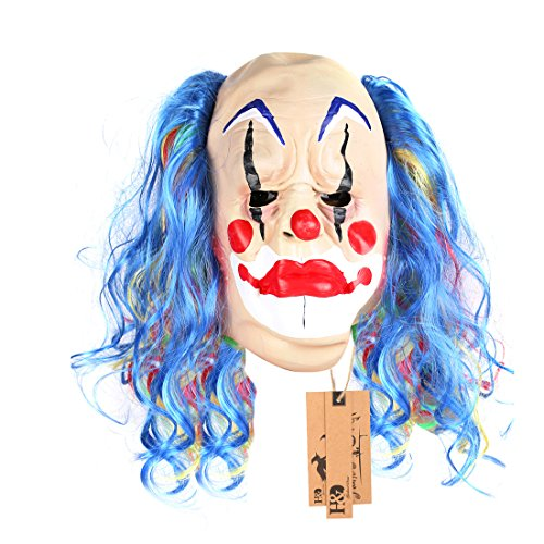 YUFENG Halloween Scary Clown Masks,Creepy or funny Clown Latex Mask for Costume party or Cosplay (Curl & balding clown)