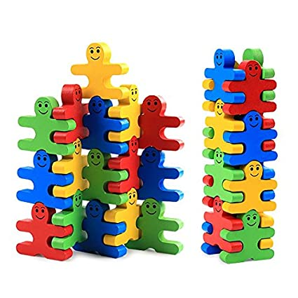 3ae56db26 Agirlgle Wood Building Blocks Stacking Game Toys for Kids Children Toddlers  Preschool Boys and Girls Learning