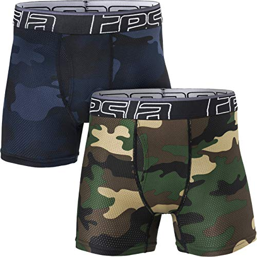 TSLA Boy's Relaxed Stretch 3 inches Open-Fly Cool Dry Brief Mesh Underwear Trunk (2-Pack), Open Fly 2pack(bbu31) - Camo Olive & Blue, Medium ()