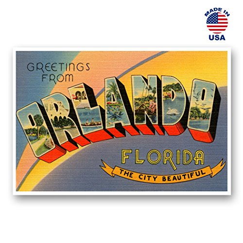 GREETINGS FROM ORLANDO vintage reprint postcard set of 20 identical postcards. Large letter Orlando, Florida city and state name post card pack (ca. 1930's-1940's). Made in USA.