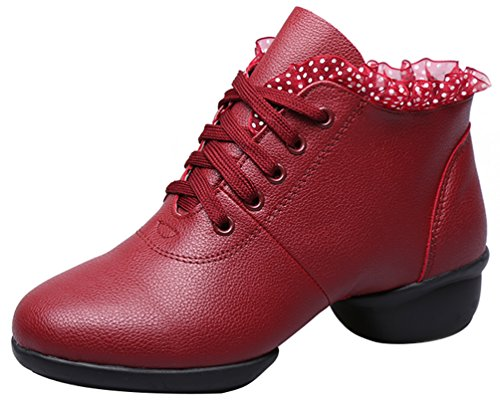 up Hip Red Toe Hop Wool Shoes Abby Charming Mid Low Womens Dance Heel 1 Closed 1805 Top Lace Jazz plus qwwg70IT