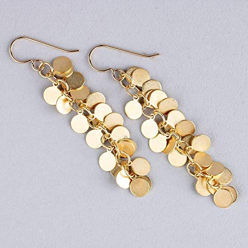 14K Gold Fill Round Disc Cluster Tassel Earrings ()