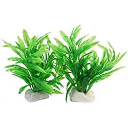 ReFaXi Artificial Aquatic Green Simulation Plants Aquarium Fish Tank Landscaping Ornament 11cm (2pcs Green)