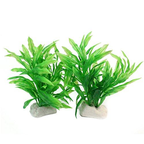 2x künstliche Wasserpflanzen Aquarium Deko Pflanzen 8x10x11cm Grün