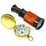 H.N.S Brass Antique Reproduction Spyglass / Brass Leather Wrapped Telescope