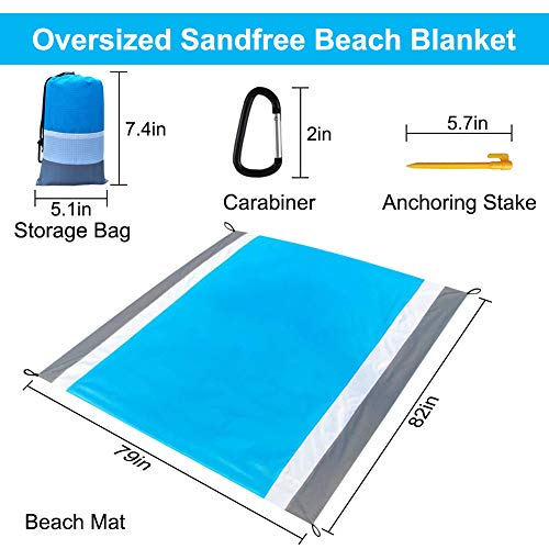 Beach Blanket Sandproof Waterproof, Oversized Sand Free Beach Mat Picnic Blanket, Quick Drying Picnic Mat Outdoor for Travel, Camping, Hiking