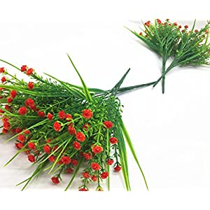 CATTREE Artificial Plants, 4pcs Faux Baby's Breath Fake Small Flowers Gypsophila Shrubs Simulation Greenery Bushes Wedding Centerpieces Table Floral Arrangement Bouquet Filler - Orange 5