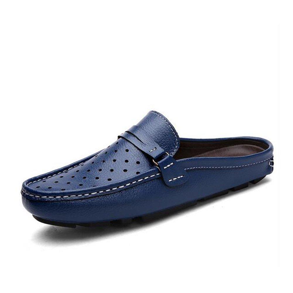 HUAN Zapatos de Hombre Zapatillas de Cuero 2018 Zapatos de Conducción de Verano de Primavera Comfort Mocasines y Slip-Ons Zapatos 43 EU|Blue