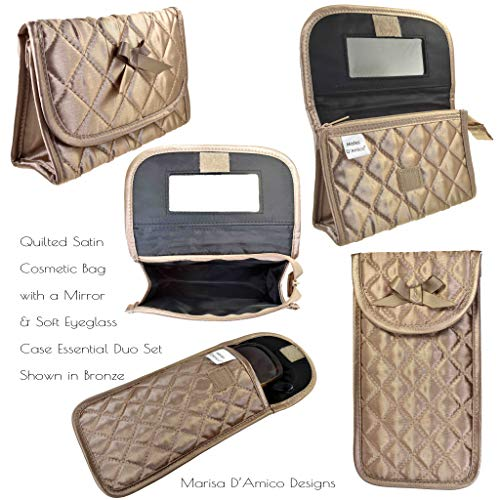 Quilted Cosmetic Bag with a Mirror & Soft Eyeglass Case Essential Duo Set in Bronze by Marisa D'Amico
