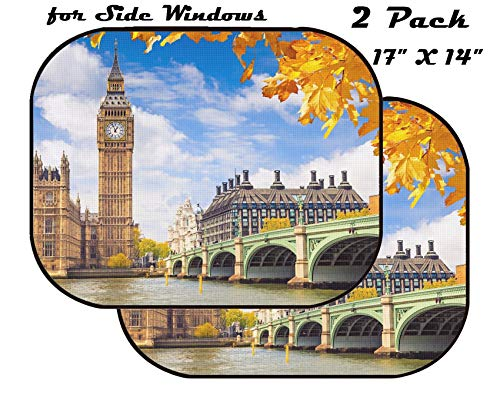 MSD Car Sun Shade for Side Window - UV Protector for Baby and Pet - Block Sunlight - Image of Tourism City Architecture River Tower Building Bridge Thames UK England London Landmark Parliament Trave