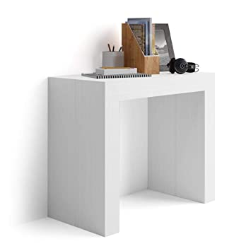 Mobili Fiver, Table Console Extensible Angelica, Frêne Blanc, 45 X 90 X 76
