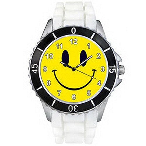Watch Men Smiley Face (CSW373 Happy Smiley Face Fashion Mens Ladies White Jelly Silicone Wrist Watch)