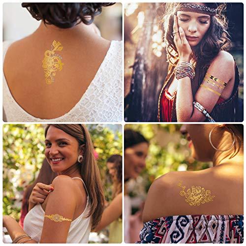 Temporärer Tattoo Hiroumer Flash Tattoos für Festival, Aufkleber Wasserdicht Metallic Sillber Tattoo 10 Stück Gesicht Tattoos Sticker für Damen Kinder Frauen für Party Festival Shows
