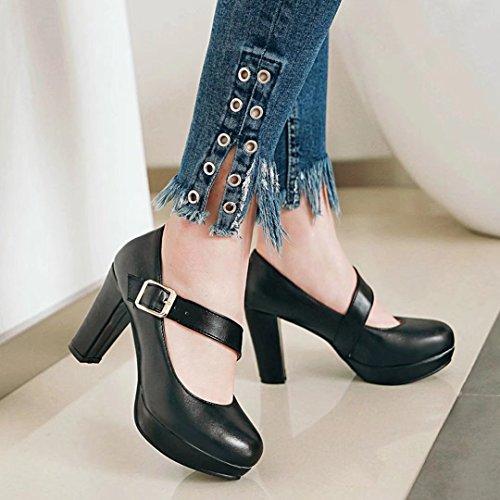 AIYOUMEI Damen High Heel Blockabsatz Plateau Mary Jane Pumps mit Riemchen Sommer Schuhe Frauen Schwarz