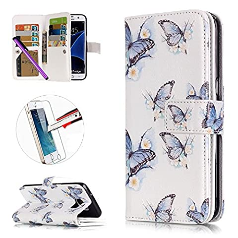 S3 Case, ISADENSER [Card Slot][Kickstand] PU Leather Built in 9 Cards Wallet Case for Samsung Galaxy S3 I9300 + 1pcs Tempered Glass Screen + 1pcs Stylus Pen (Nine Cards (Rilakkuma Phone Case Galaxy S3)