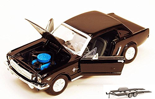 Diecast Car & Trailer Package - 1964 1/2 Ford Mustang, Black - Showcasts 73273 - 1/24 scale Diecast Model Toy Car w/Trailer -  ModelToyCars, 73273-MMT-BLACK-WB-76001-BDL