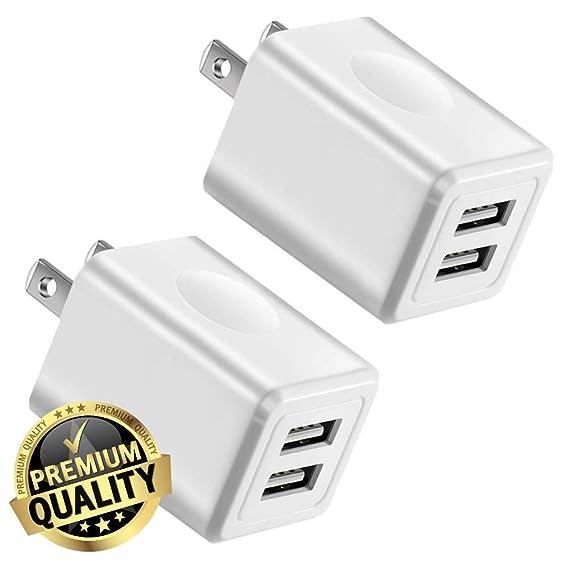 pretty nice 02fd9 0c9d7 Amazon.com: Charger, Tricon 2-Pack 2.1Amp Dual Port USB Plug Power ...
