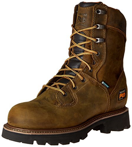 Timberland PRO Men's 8 Inch Crosscut WP Soft Toe Logger Work Boot, Brown Distressed Leather, 11.5 M US