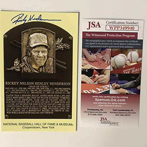 Autographed/Signed Rickey Henderson HOF Hall Of Fame Baseball Plaque Postcard JSA COA from Phanatic Sports Memorabilia