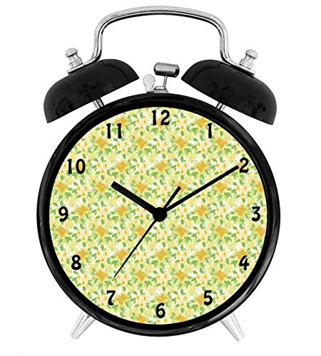 22yiihannz Hibiscus and Plumeria Composition Hawaii Plants,Battery Operated Quartz Ring Alarm Clock for Home,Office,Bedroom,Amber Fern Green_4inch