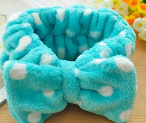 Women Fashion Cute Pink Heart Bowknot Bow Makeup Cosmetic Shower Elastic Hair Band Hairlace Headband [Blue Dot]