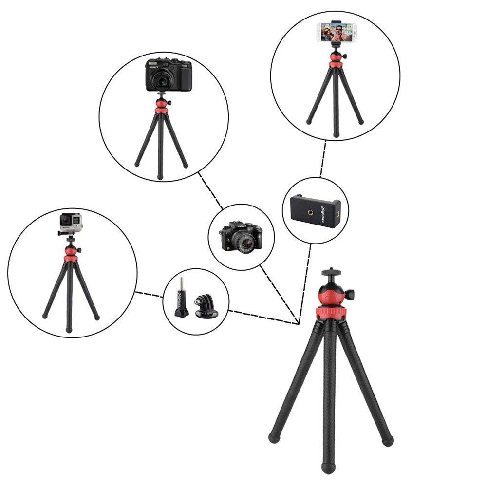 Tripod Compatible with iOS Phone Camera Sports Camera GoPro WORNEW Camera//Phone Tripod Waterproof 3 in 1 12 Flexible Tripod Bluetooth Remote Control and Cell Phone Holder Clip Android Phone