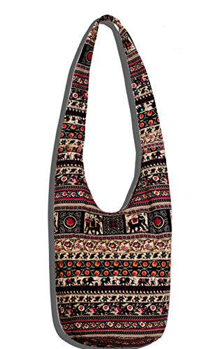 Hippie Crossbody Bag Thai Top Zip Hobo Sling Bag Handmade Hipster Messenger Bag (Elephant)