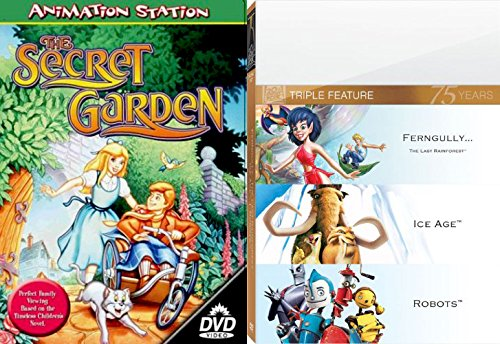 Ferngully / Ice Age Dinosaurs & Robots 4 Animated Favorites The Secret Garden Feature DVD Cartoons Movie Animated Family pack The Last Rainforest