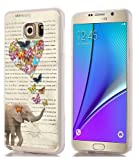 Note 5 Case art & MUQR Slim Silicone Rubber Protective Cover Replacement Compatible For Samsung Note 5 vintage elephant art