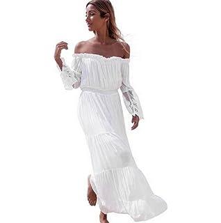 Sannysis falda mujer Vestidos de playa largos blanco