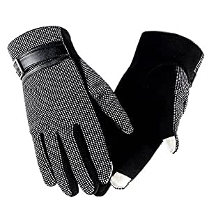 WY Guantes Pantalla Táctil Espesamiento Al Aire Libre Mantener caliente ( Color : Enrejado negro )