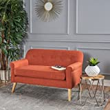 Mia Mid Century Modern Fabric Loveseat (Muted Orange)