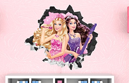 Barbie Girl Princess Guitar Wall Decal Smashed 3D Sticker Vinyl Decor Mural Kids - Broken Wall - 3D Designs - LS2 (Large (Wide 40